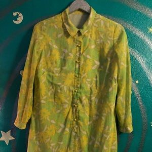 60's/70's Green Yellow Psychedelic Dress M